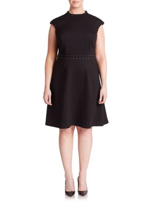 Abs By Allen Schwartz Plus Lace-Up Detail Cap-Sleeve Dress