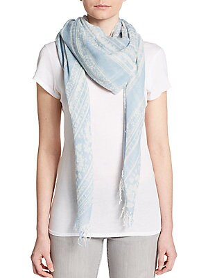 Batik-Print Cashmere & Silk Scarf