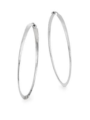 """Saks Fifth Avenue  Sterling Silver Oval Hammered Twist Hoop Earrings/2"""""""