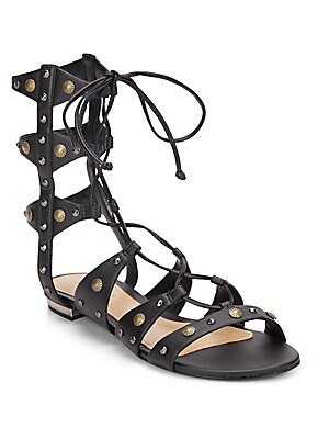 Samena Studded Leather Lace-Up Gladiator Sandals