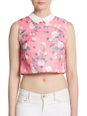 ERIN BY ERIN FETHERSTON Josephine Floral-Print Cropped Top in Poppy Pink