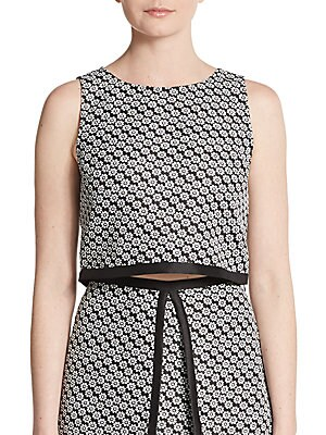 ERIN BY ERIN FETHERSTON Margeaux Floral Jacquard Cropped Top in Black Ivory