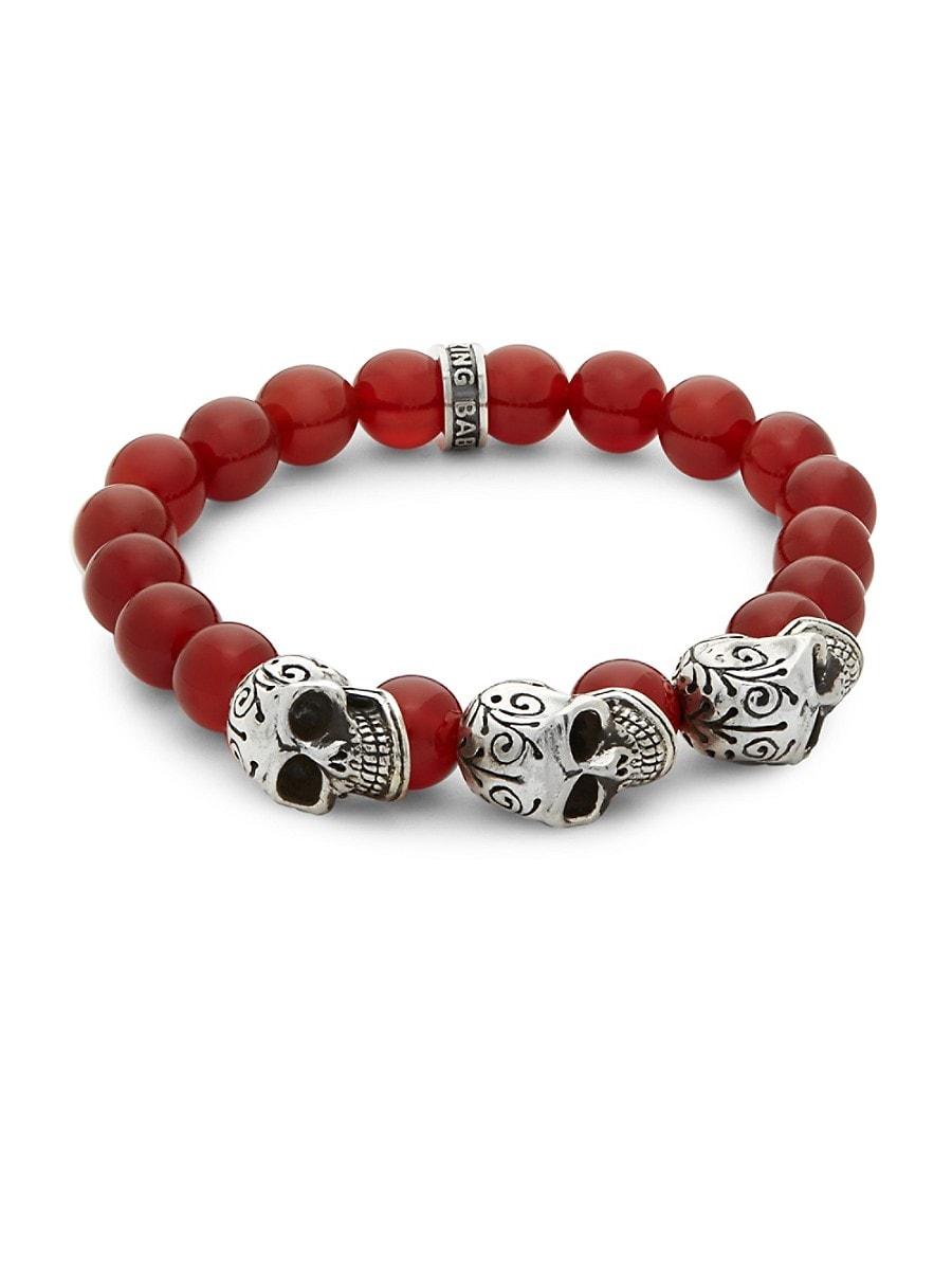 Men's Beaded Skull Bracelet
