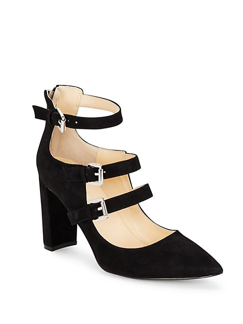 Ivanka Trump KAMON POINT TOE BUCKLED SUEDE SHOES
