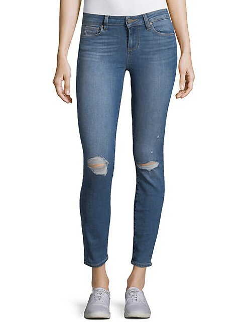 PAIGE | Distressed Ankle Jeans | Goxip