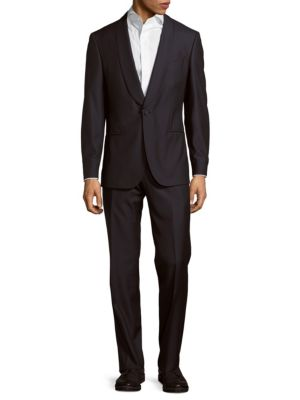 Textured Wool-Blend Suit, Navy