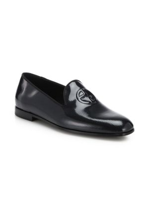 Giorgio Armani Shoes Patent Embossed Dress Slip-Ons