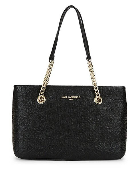KARL LAGERFELD QUILTED LEATHER TOTE BAG, BLACK CAMEL