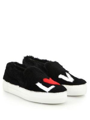 Joshua Sanders Rex Rabbit Fur Love Slip-On Sneakers