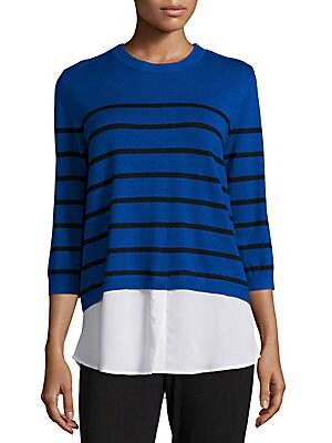 Zipper-Accent Striped Sweater