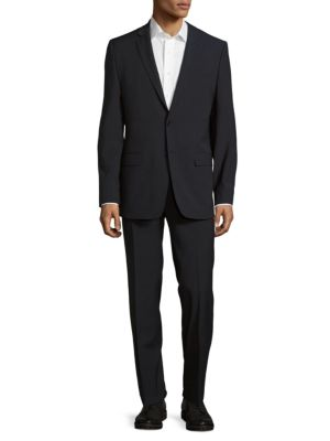 VERSACE SLIM-FIT PINSTRIPED TWO-PIECE SUIT, GRAY/BLUE