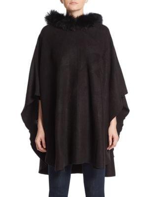 ADRIENNE LANDAU Fox Fur Trim Hooded Poncho, Black
