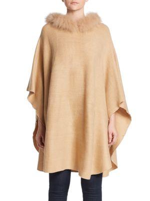 ADRIENNE LANDAU Hooded Fox Fur Trim Poncho, Camel