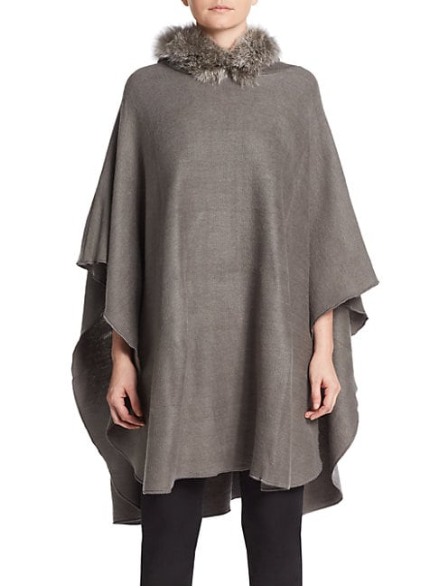 Adrienne Landau HOODED FOX FUR TRIM PONCHO