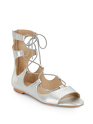 Dani Metallic Leather Lace-Up Gladiator Sandals