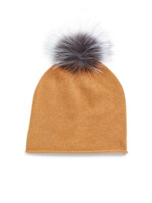 Saks Fifth Avenue  DYED FOX FUR AND CASHMERE CAP