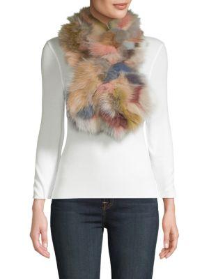 Surell Multicolored Fox Fur Scarf