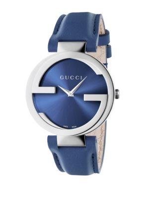 Gucci Watches Interlocking Stainless Steel & Leather Strap Watch/Blue