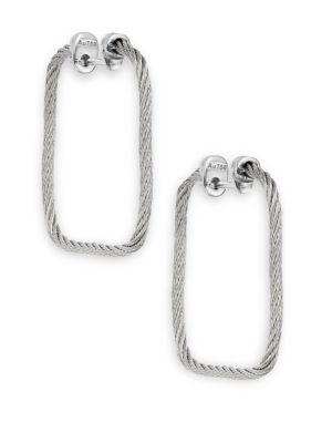 Alor  Stainless Steel & 18K White Gold Rectangular Hoop Earrings