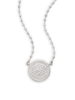 Alor Diamond, 18K White Gold & Stainless Steel Pendant Necklace