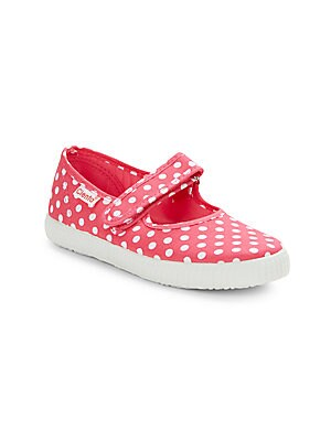 Girl's Polka Dot Canvas Mary Jane Flats