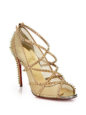 bf52e4cc1956 Christian Louboutin - Alarc 100 Spiked Strappy Mesh Sandals - saksoff5th.com