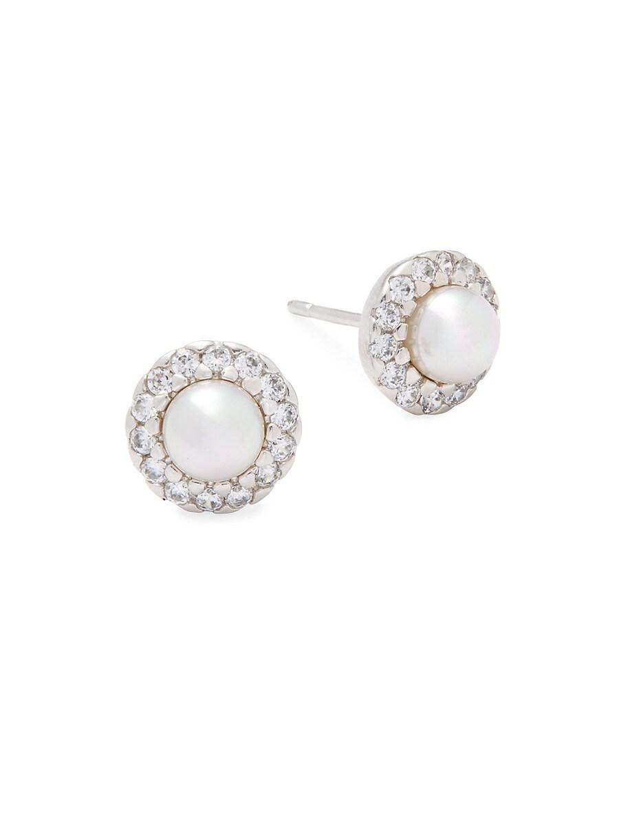 Women's 5MM White Pearl & Sterling Silver Halo Stud Earrings