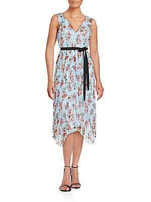 Accordion Pleated Floral Dress