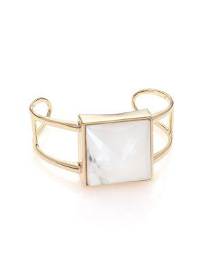 Alexis Bittar  Miss Havisham Deconstructed Deco Howlite & Crystal Cuff Bracelet