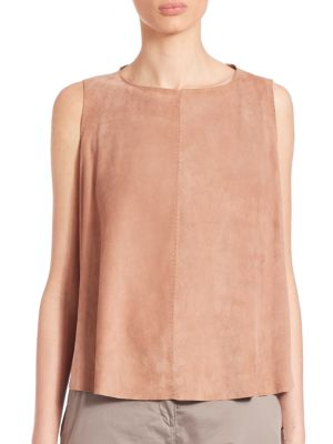 Eleventy Leathers Sleeveless Suede Top