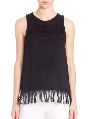 TESS GIBERSON Cotton Knit Weave Fringe Top in Black
