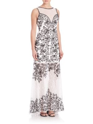 SUE WONG Floral Lace Trumpet Gown in White Black