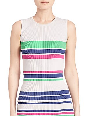 Striped Rib-Knit Tank Top
