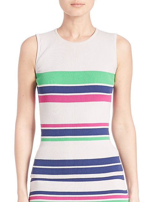 Striped Rib-Knit Tank Top
