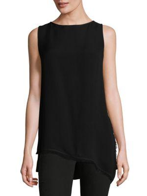 b90d40441af8dd Lafayette 148 Conrad Asymmetrical Hem Silk Top In Black