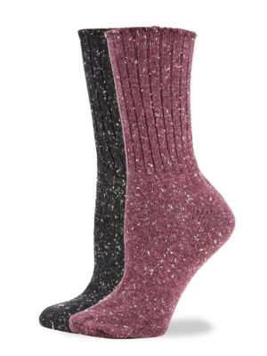 Hue Two-Pack Tweed Rib Boot Socks