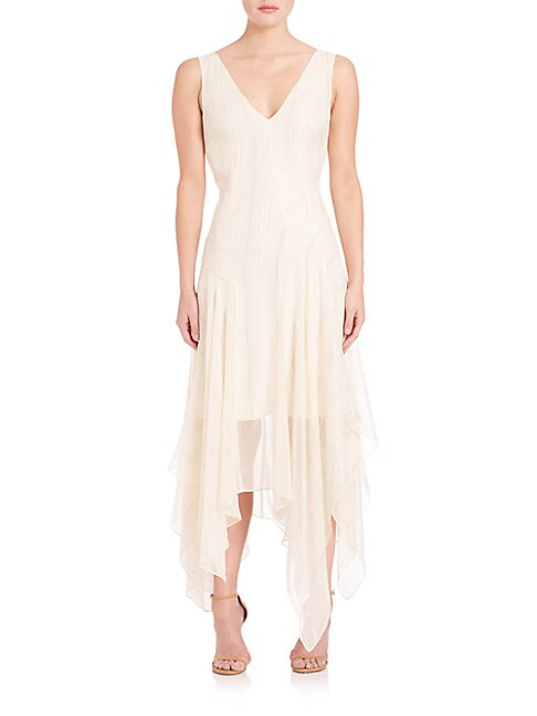 FOUNDRAE   Pleated V-Neck Dress   Goxip