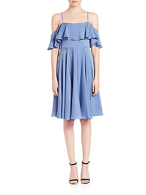 Emmaline Ruffled Cold-Shoulder Dress