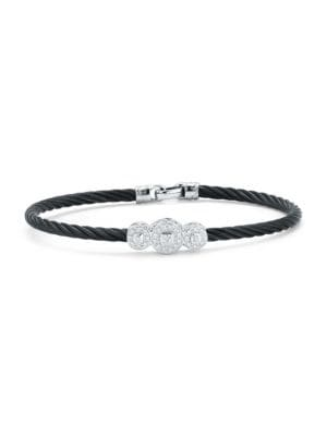 Alor  Classique Stainless Steel and 18K White Gold Bangle Bracelet