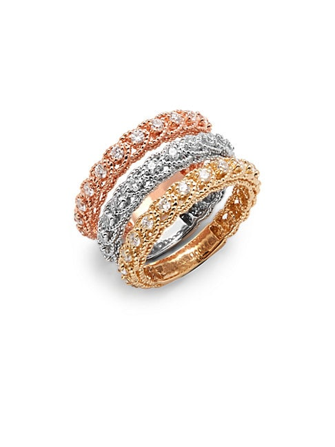 Diamond & 14K Tricolor Gold Illusion Stackable Ring Set
