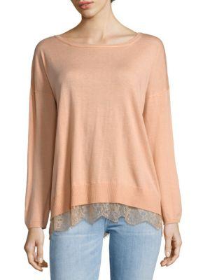 Joie  Hilano Lace Hem Sweater