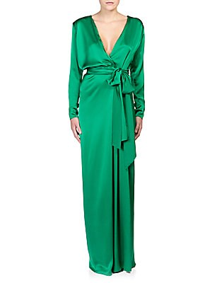 Long-Sleeve Deep-V Wrap Gown