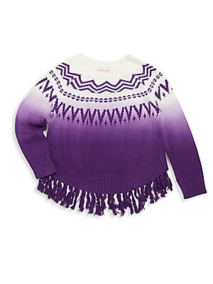 Little Girl's Knit Cotton-Blend Fringed Pullover