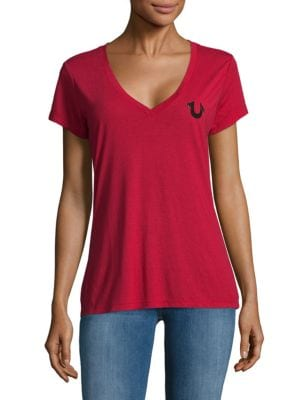 Crest V-Neck Cotton Tee, Ruby Red