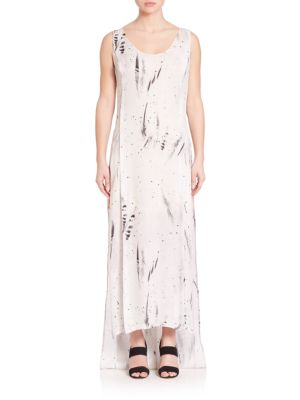 Public School Sachey Feather-Print Silk Dress