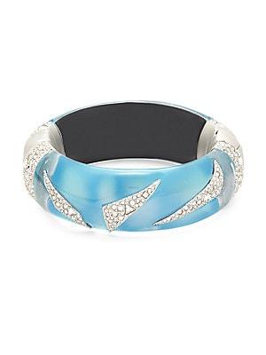 Lucite Origami Swarovski Crystal & Blue Opal Hinged Bracelet