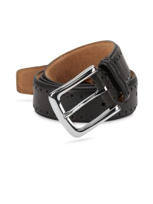 Cole Haan Mens CHOCOLATE Belt Size 36 Perforated Trim Dress New Man Made