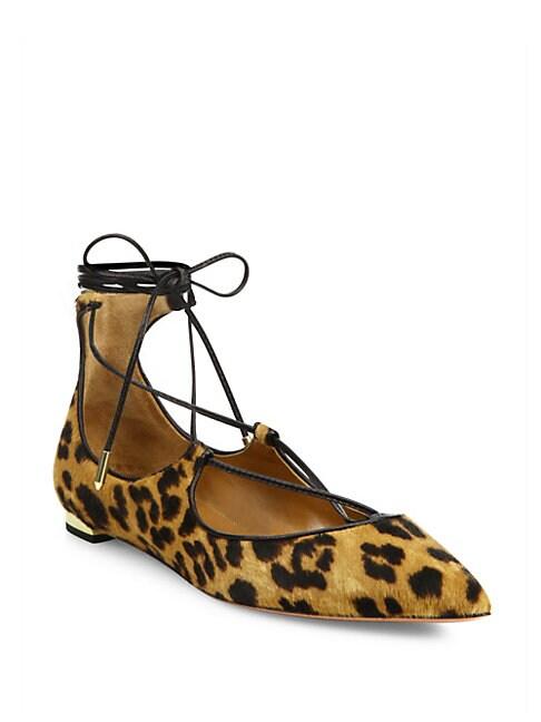 Christy Leopard-Print Calf Hair Lace-Up Flats, Caramel Leopard