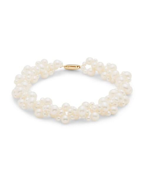 SAKS FIFTH AVENUE | 3.5MM Cultured Fresh Water Pearl Cluster Bracelet | Goxip