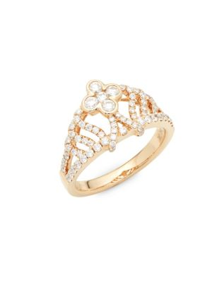 Roberto Coin  Diamond, Ruby and 18K Rose Gold Ring